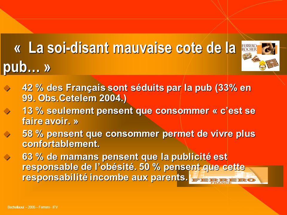 Bechellaoui – 2005 – Ferrero - IFV « La publicité présente les choses de façon à aider les gens à enrichir leur regard sur les produits ou les marques