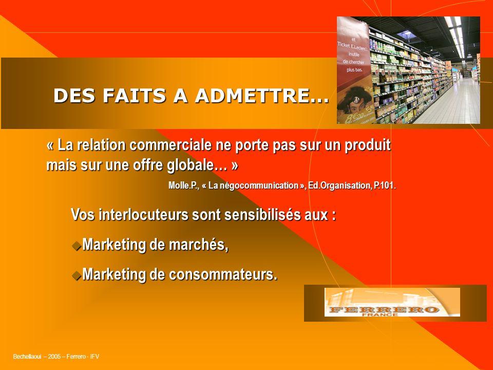 Bechellaoui – 2005 – Ferrero - IFV DES FAITS A ADMETTRE… DES FAITS A ADMETTRE… « Vos interlocuteurs suivent trois indicateurs majeurs » Attractivité :