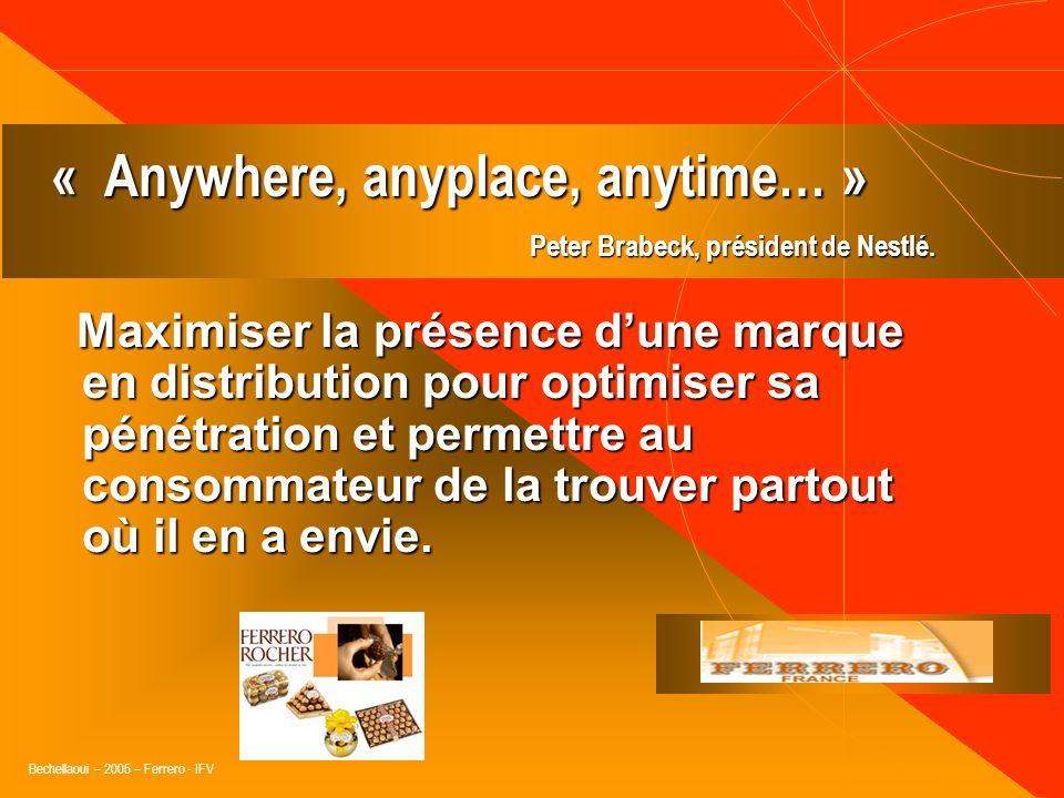 Bechellaoui – 2005 – Ferrero - IFV « La magie de la grande distribution, cest quune action marketing y a des retombées immédiates… » Frédérique Thurre