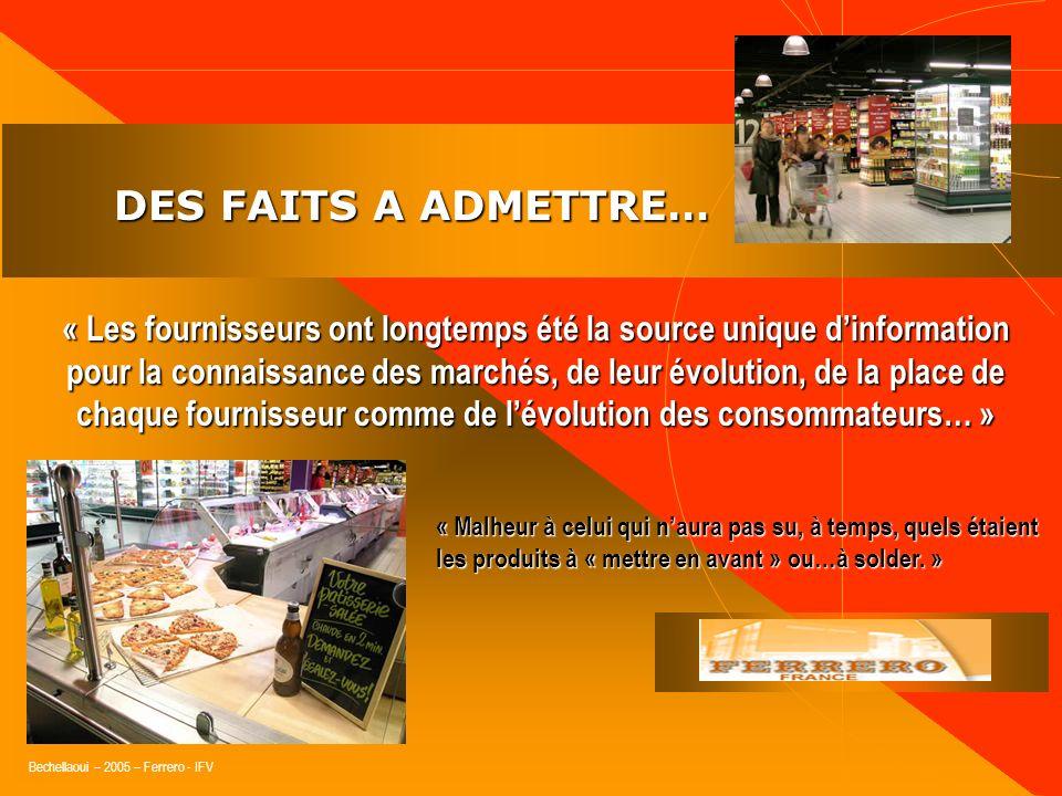 Bechellaoui – 2005 – Ferrero - IFV DES FAITS A ADMETTRE… DES FAITS A ADMETTRE… « La relation commerciale ne porte pas sur un produit mais sur une offr