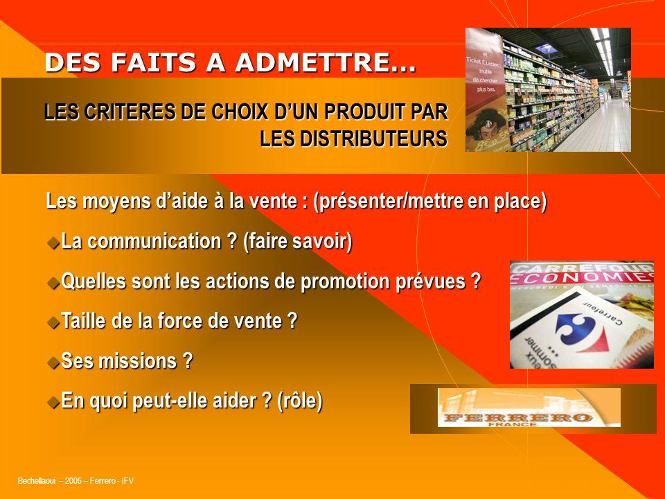 Bechellaoui – 2005 – Ferrero - IFV DES FAITS A ADMETTRE… DES FAITS A ADMETTRE… Lentreprise qui fabrique le produit : (démontrer/valider) Sa notoriété,