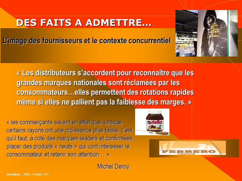 Bechellaoui – 2005 – Ferrero - IFV DES FAITS A ADMETTRE… DES FAITS A ADMETTRE… Une nouvelle offre fournisseur est toujours perçue par la distribution