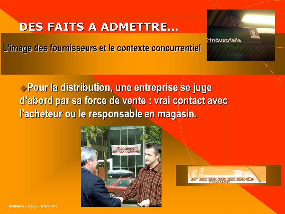 Bechellaoui – 2005 – Ferrero - IFV DES FAITS A ADMETTRE… DES FAITS A ADMETTRE… « Les distributeurs saccordent pour reconnaître que les grandes marques