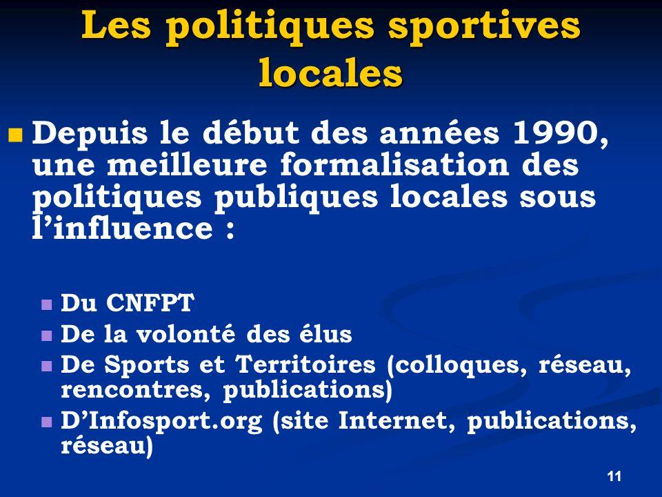11 Les politiques sportives locales Depuis le début des années 1990, une meilleure formalisation des politiques publiques locales sous linfluence : Du