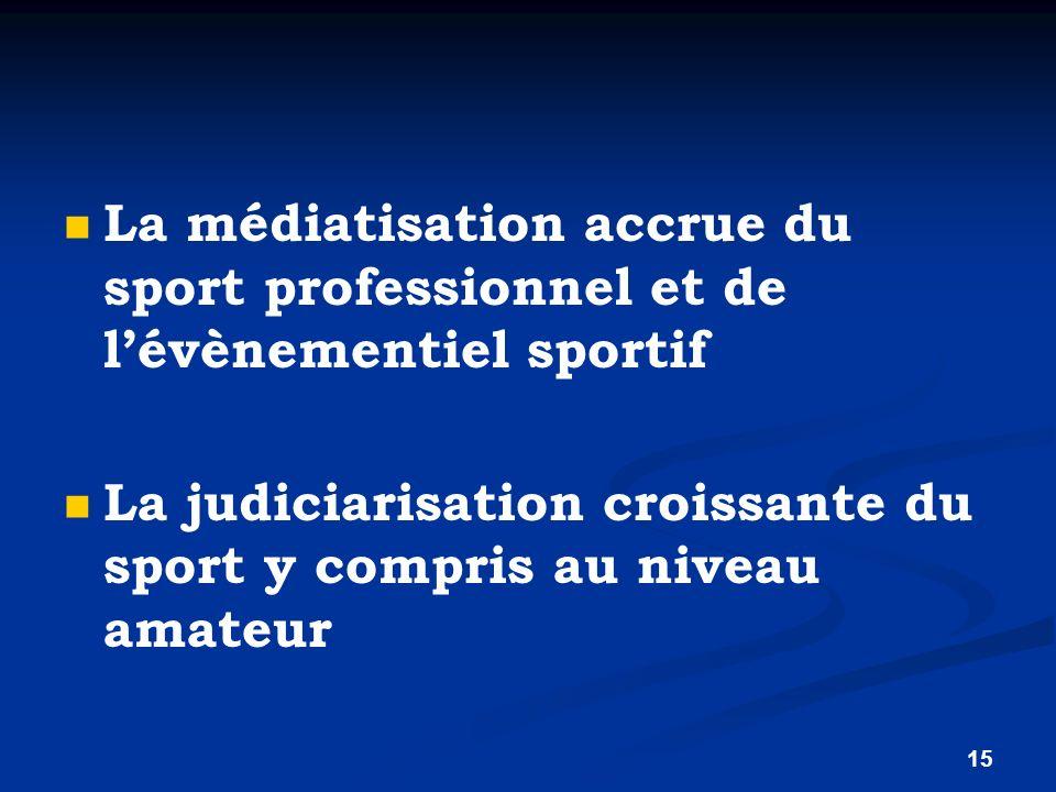 15 La médiatisation accrue du sport professionnel et de lévènementiel sportif La judiciarisation croissante du sport y compris au niveau amateur
