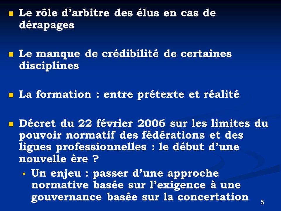 5 Le rôle darbitre des élus en cas de dérapages Le manque de crédibilité de certaines disciplines La formation : entre prétexte et réalité Décret du 2