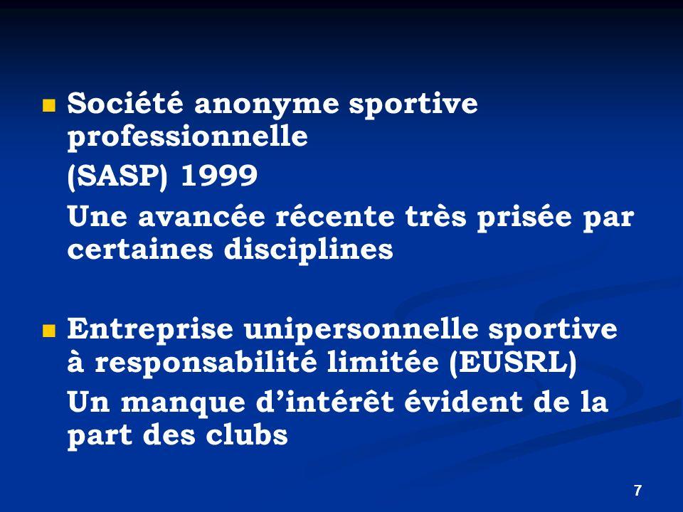 7 Société anonyme sportive professionnelle (SASP) 1999 Une avancée récente très prisée par certaines disciplines Entreprise unipersonnelle sportive à