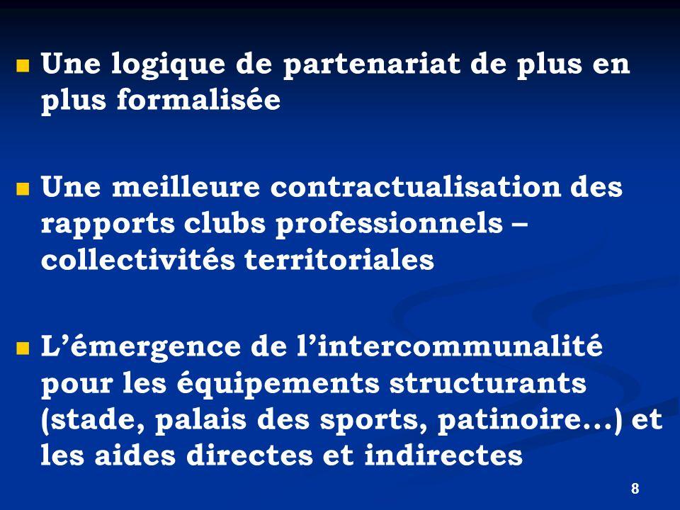 8 Une logique de partenariat de plus en plus formalisée Une meilleure contractualisation des rapports clubs professionnels – collectivités territorial