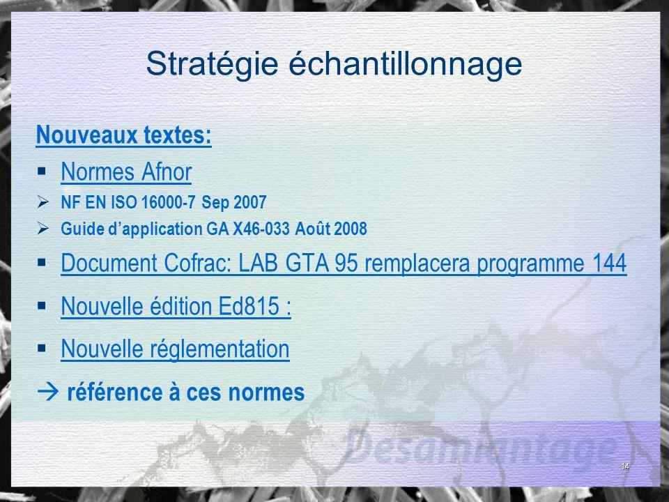 14 Stratégie échantillonnage Nouveaux textes: Normes Afnor NF EN ISO 16000-7 Sep 2007 Guide dapplication GA X46-033 Août 2008 Document Cofrac: LAB GTA