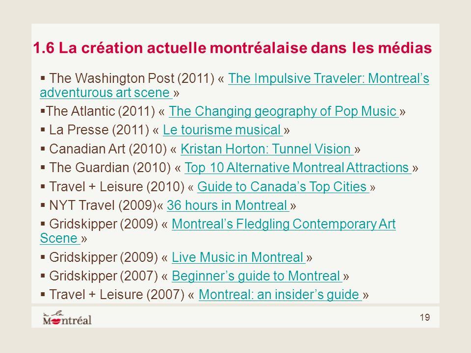 19 1.6 La création actuelle montréalaise dans les médias The Washington Post (2011) « The Impulsive Traveler: Montreals adventurous art scene »The Imp