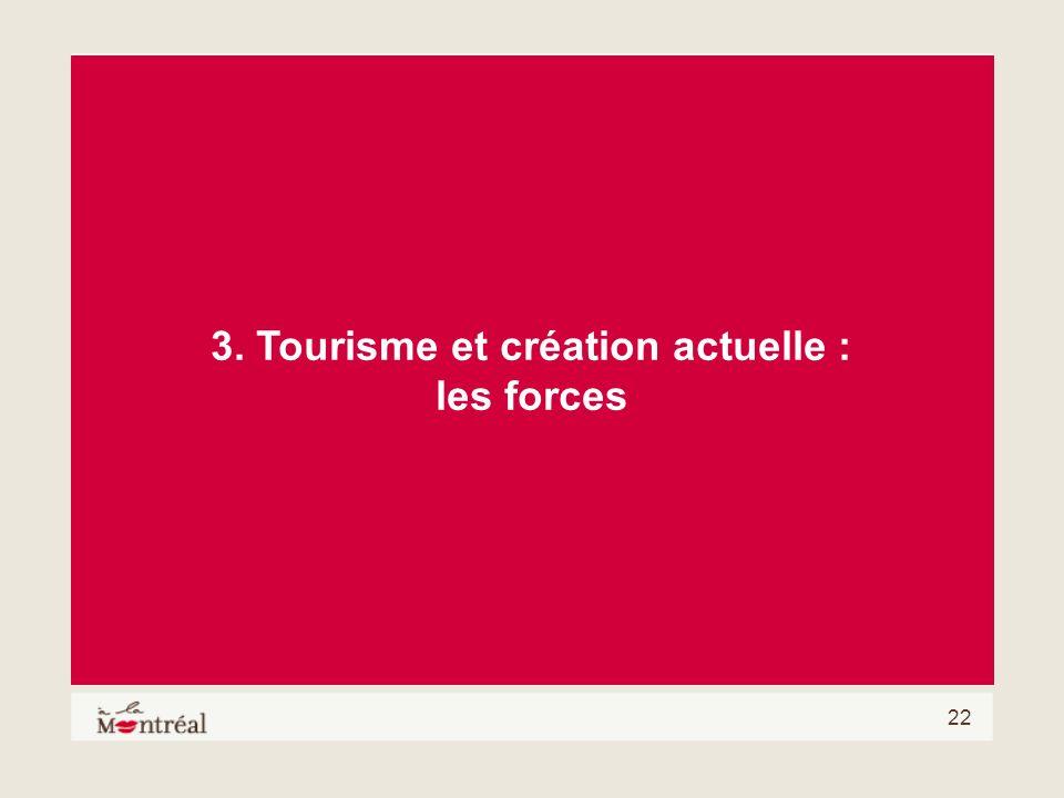 22 3. Tourisme et création actuelle : les forces