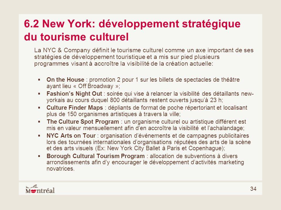 34 6.2 New York: développement stratégique du tourisme culturel La NYC & Company définit le tourisme culturel comme un axe important de ses stratégies