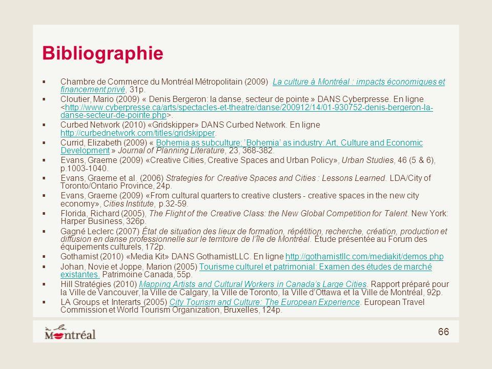 66 Bibliographie Chambre de Commerce du Montréal Métropolitain (2009) La culture à Montréal : impacts économiques et financement privé, 31p.La culture