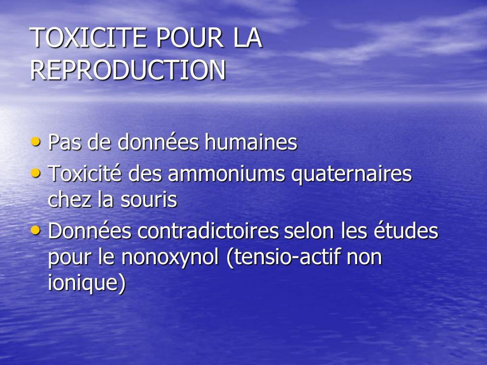 TOXICITE POUR LA REPRODUCTION Pas de données humaines Pas de données humaines Toxicité des ammoniums quaternaires chez la souris Toxicité des ammonium