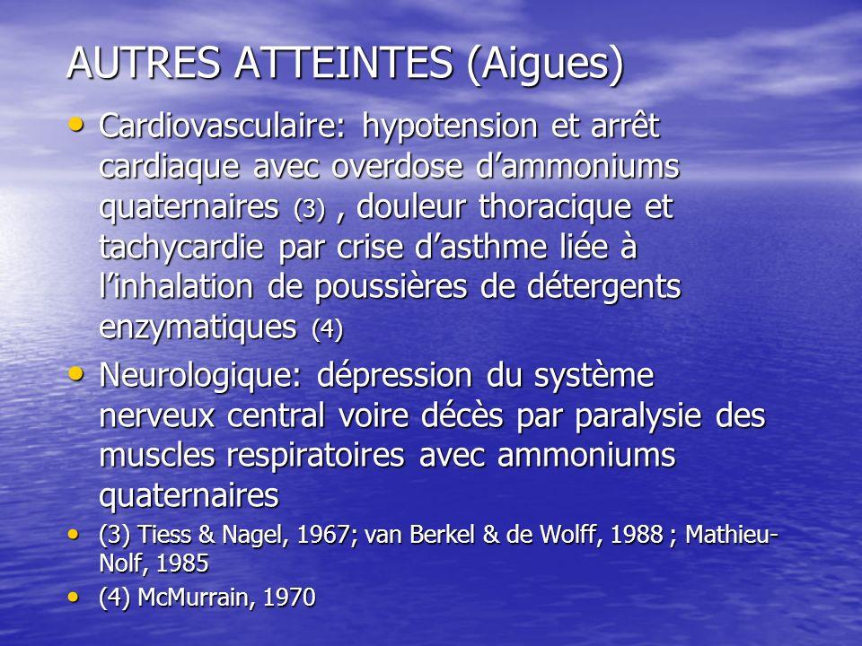 AUTRES ATTEINTES (Aigues) Cardiovasculaire: hypotension et arrêt cardiaque avec overdose dammoniums quaternaires (3), douleur thoracique et tachycardi