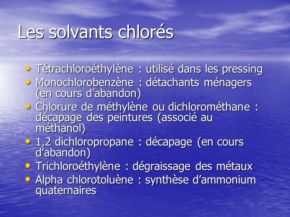 Les solvants chlorés Tétrachloroéthylène : utilisé dans les pressing Tétrachloroéthylène : utilisé dans les pressing Monochlorobenzène : détachants mé