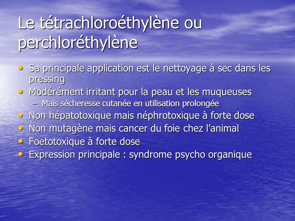 Le tétrachloroéthylène ou perchloréthylène Sa principale application est le nettoyage à sec dans les pressing Sa principale application est le nettoya
