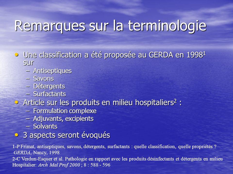 Remarques sur la terminologie Une classification a été proposée au GERDA en 1998 1 sur Une classification a été proposée au GERDA en 1998 1 sur –Antis