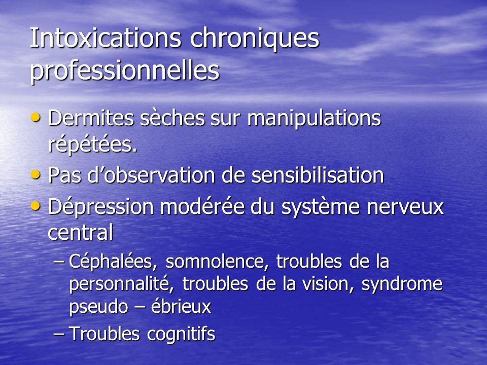 Intoxications chroniques professionnelles Dermites sèches sur manipulations répétées. Dermites sèches sur manipulations répétées. Pas dobservation de