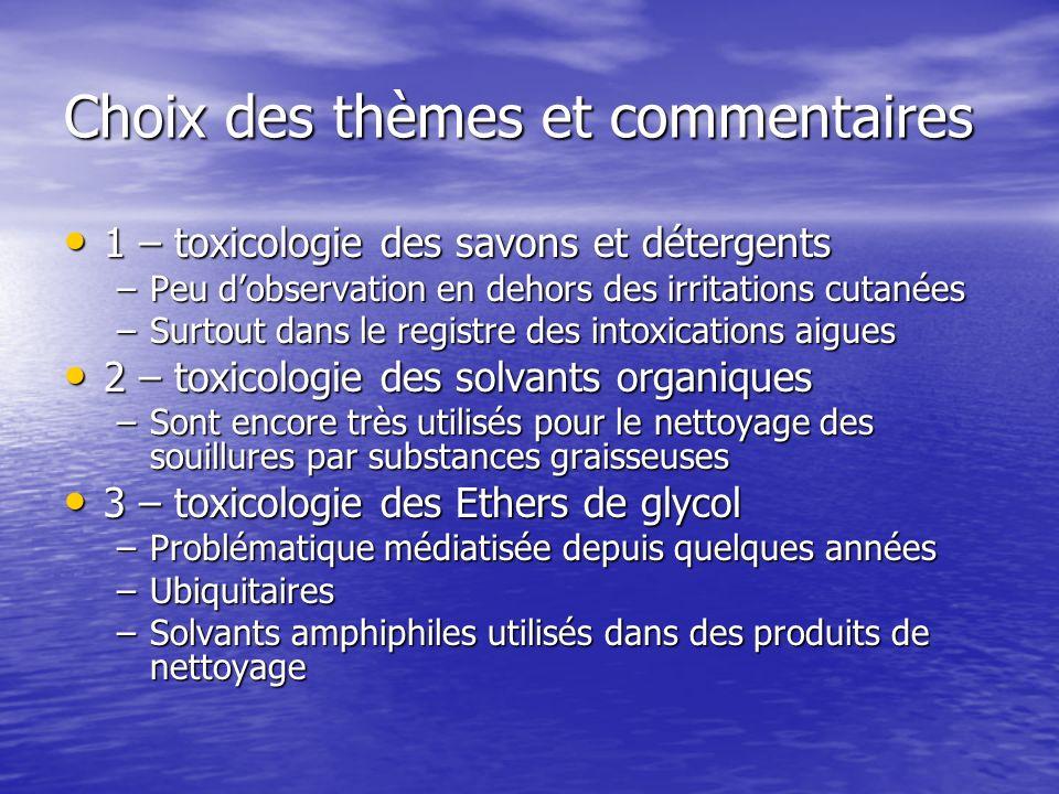 Choix des thèmes et commentaires 1 – toxicologie des savons et détergents 1 – toxicologie des savons et détergents –Peu dobservation en dehors des irr