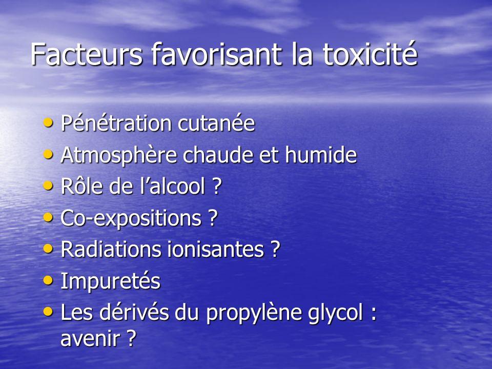 Facteurs favorisant la toxicité Pénétration cutanée Pénétration cutanée Atmosphère chaude et humide Atmosphère chaude et humide Rôle de lalcool ? Rôle