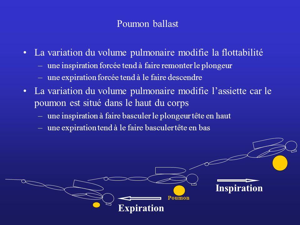 Poumon ballast La variation du volume pulmonaire modifie la flottabilité –une inspiration forcée tend à faire remonter le plongeur –une expiration for