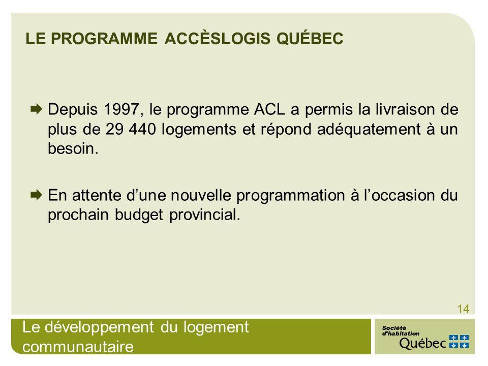 Le développement du logement communautaire 14 Depuis 1997, le programme ACL a permis la livraison de plus de 29 440 logements et répond adéquatement à