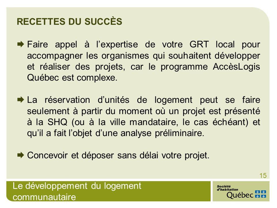 Le développement du logement communautaire 15 Faire appel à lexpertise de votre GRT local pour accompagner les organismes qui souhaitent développer et