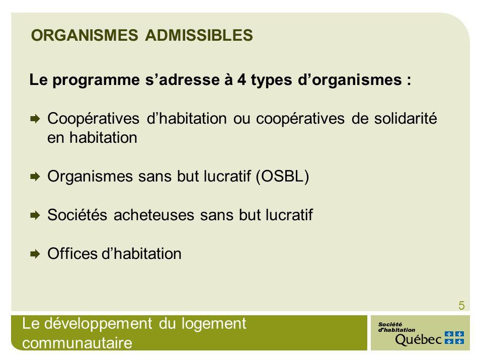Le développement du logement communautaire 5 ORGANISMES ADMISSIBLES Le programme sadresse à 4 types dorganismes : Coopératives dhabitation ou coopérat