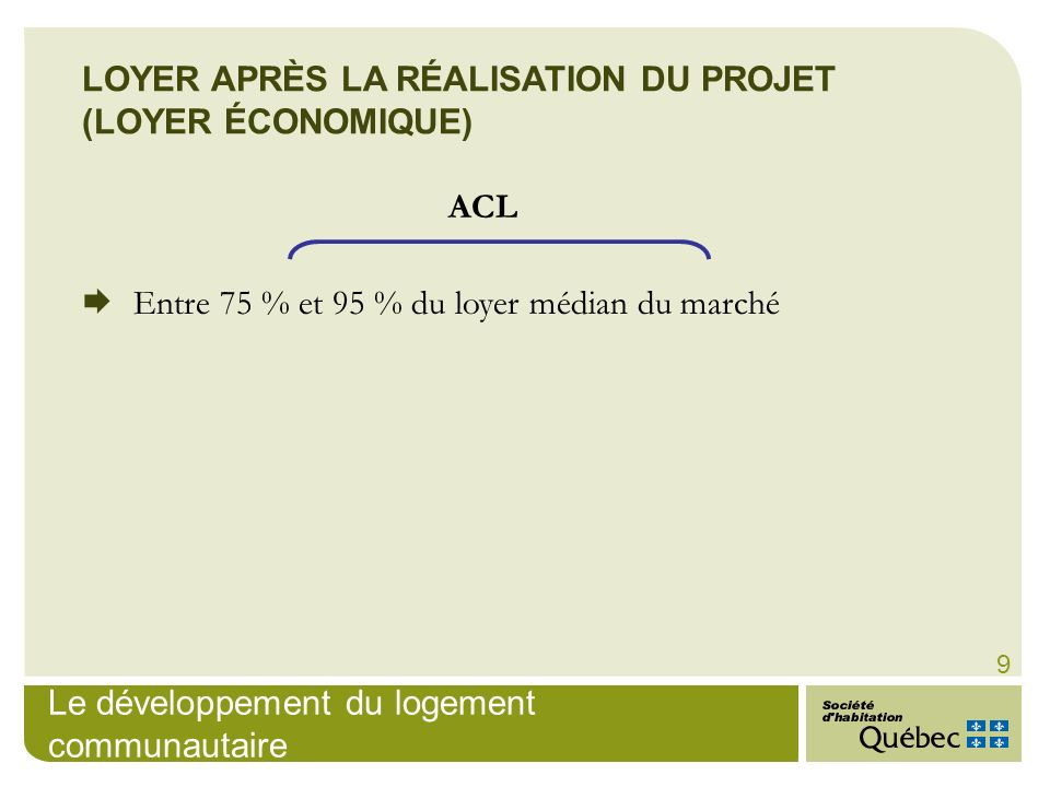 Le développement du logement communautaire 9 LOYER APRÈS LA RÉALISATION DU PROJET (LOYER ÉCONOMIQUE) ACL Entre 75 % et 95 % du loyer médian du marché