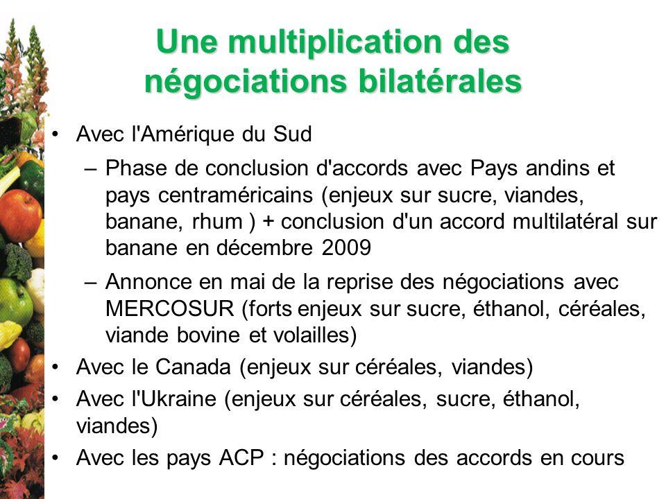 Une multiplication des négociations bilatérales Avec l'Amérique du Sud –Phase de conclusion d'accords avec Pays andins et pays centraméricains (enjeux