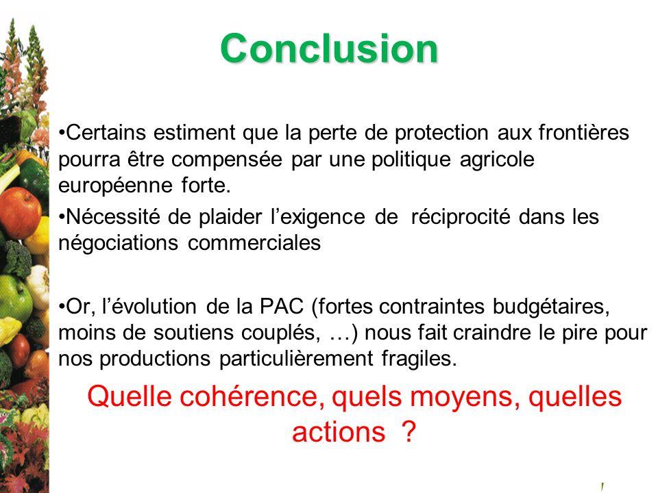 Conclusion Certains estiment que la perte de protection aux frontières pourra être compensée par une politique agricole européenne forte. Nécessité de