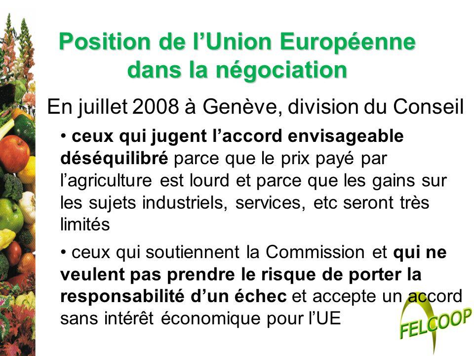 En juillet 2008 à Genève, division du Conseil ceux qui jugent laccord envisageable déséquilibré parce que le prix payé par lagriculture est lourd et p