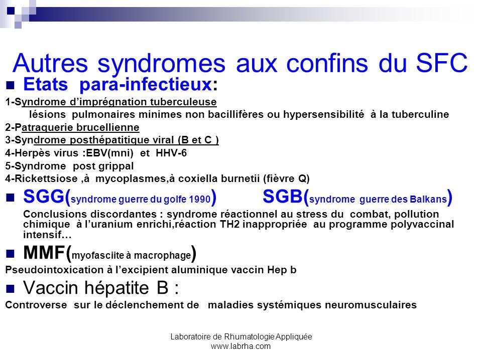 Laboratoire de Rhumatologie Appliquée www.labrha.com Autres syndromes aux confins du SFC Etats para-infectieux: 1-Syndrome dimprégnation tuberculeuse