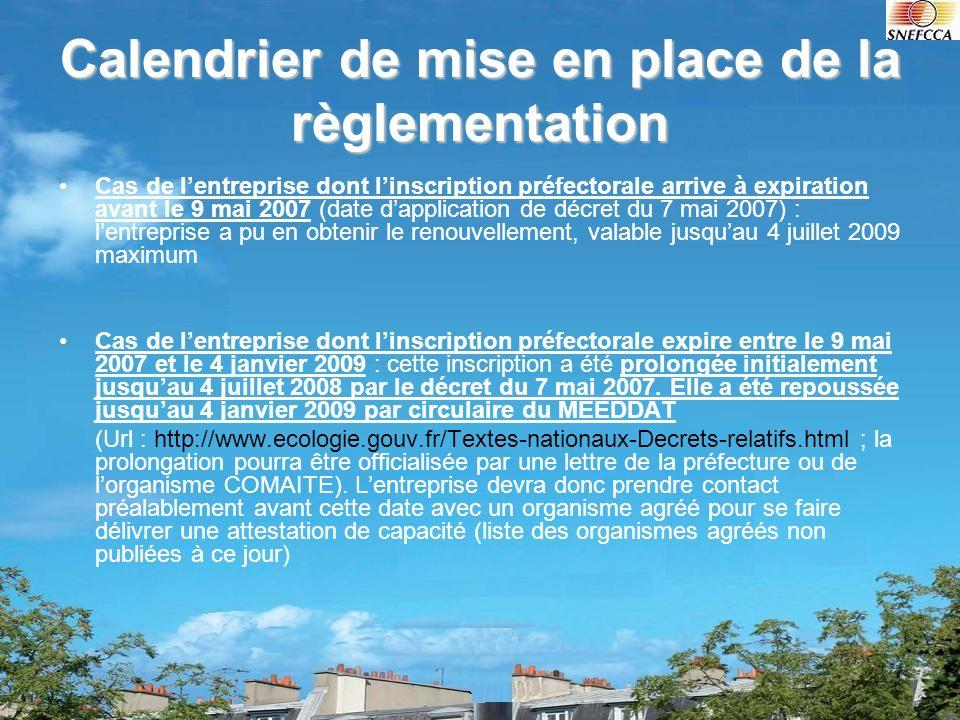 Calendrier de mise en place de la règlementation Cas de lentreprise dont linscription préfectorale arrive à expiration avant le 9 mai 2007 (date dappl