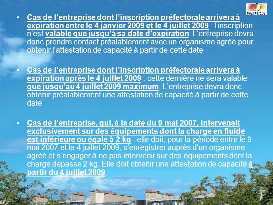 Cas de lentreprise dont linscription préfectorale arrivera à expiration entre le 4 janvier 2009 et le 4 juillet 2009 : linscription nest valable que j