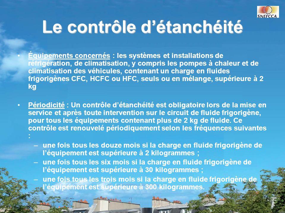 Le contrôle détanchéité Équipements concernés : les systèmes et installations de réfrigération, de climatisation, y compris les pompes à chaleur et de