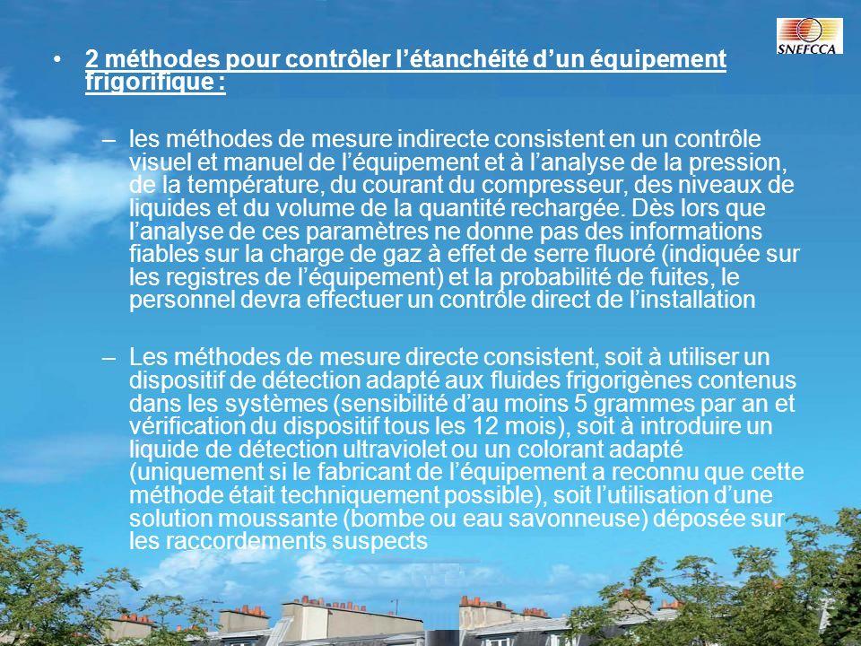 2 méthodes pour contrôler létanchéité dun équipement frigorifique : –les méthodes de mesure indirecte consistent en un contrôle visuel et manuel de lé