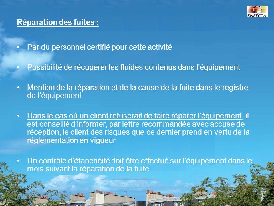 Réparation des fuites : Par du personnel certifié pour cette activité Possibilité de récupérer les fluides contenus dans léquipement Mention de la rép