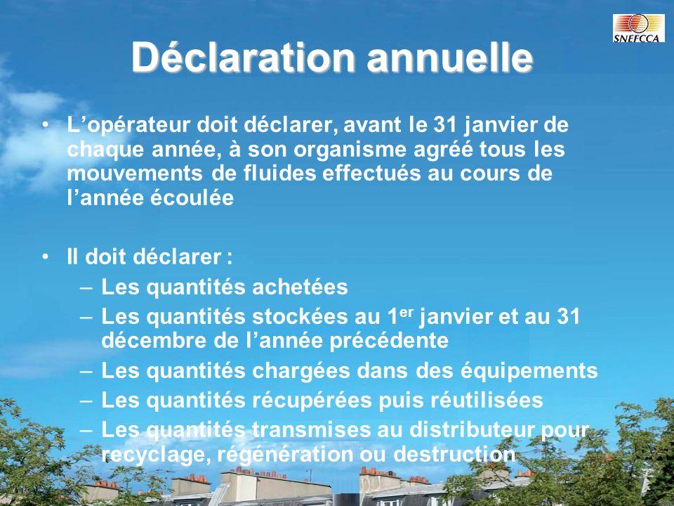 Déclaration annuelle Lopérateur doit déclarer, avant le 31 janvier de chaque année, à son organisme agréé tous les mouvements de fluides effectués au