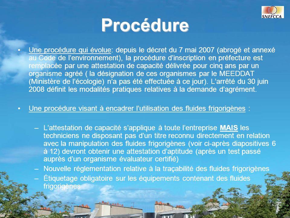Calendrier de mise en place de la règlementation Cas de lentreprise dont linscription préfectorale arrive à expiration avant le 9 mai 2007 (date dapplication de décret du 7 mai 2007) : lentreprise a pu en obtenir le renouvellement, valable jusquau 4 juillet 2009 maximum Cas de lentreprise dont linscription préfectorale expire entre le 9 mai 2007 et le 4 janvier 2009 : cette inscription a été prolongée initialement jusquau 4 juillet 2008 par le décret du 7 mai 2007.