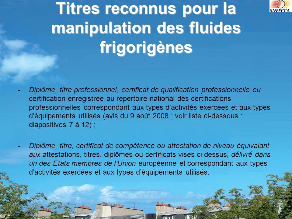 Titres reconnus pour la manipulation des fluides frigorigènes -Diplôme, titre professionnel, certificat de qualification professionnelle ou certificat