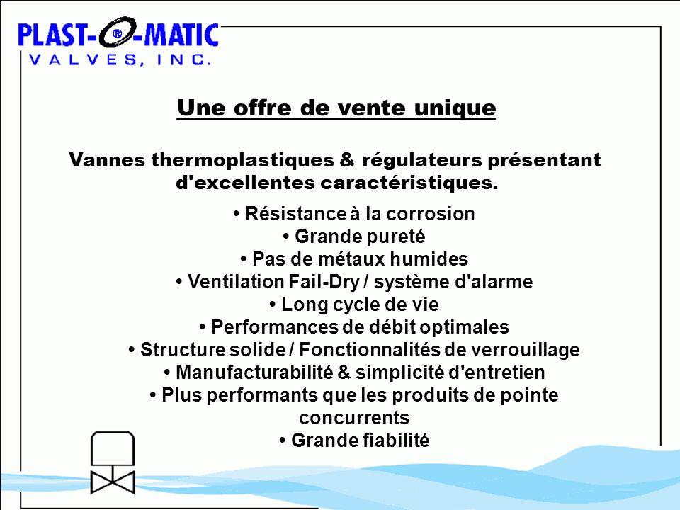 Résistance à la corrosion Grande pureté Pas de métaux humides Ventilation Fail-Dry / système d'alarme Long cycle de vie Performances de débit optimale
