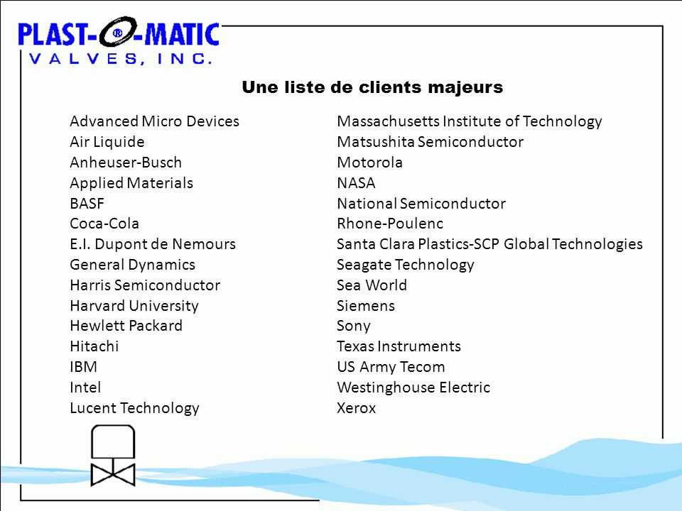 Advanced Micro Devices Air Liquide Anheuser-Busch Applied Materials BASF Coca-Cola E.I. Dupont de Nemours General Dynamics Harris Semiconductor Harvar