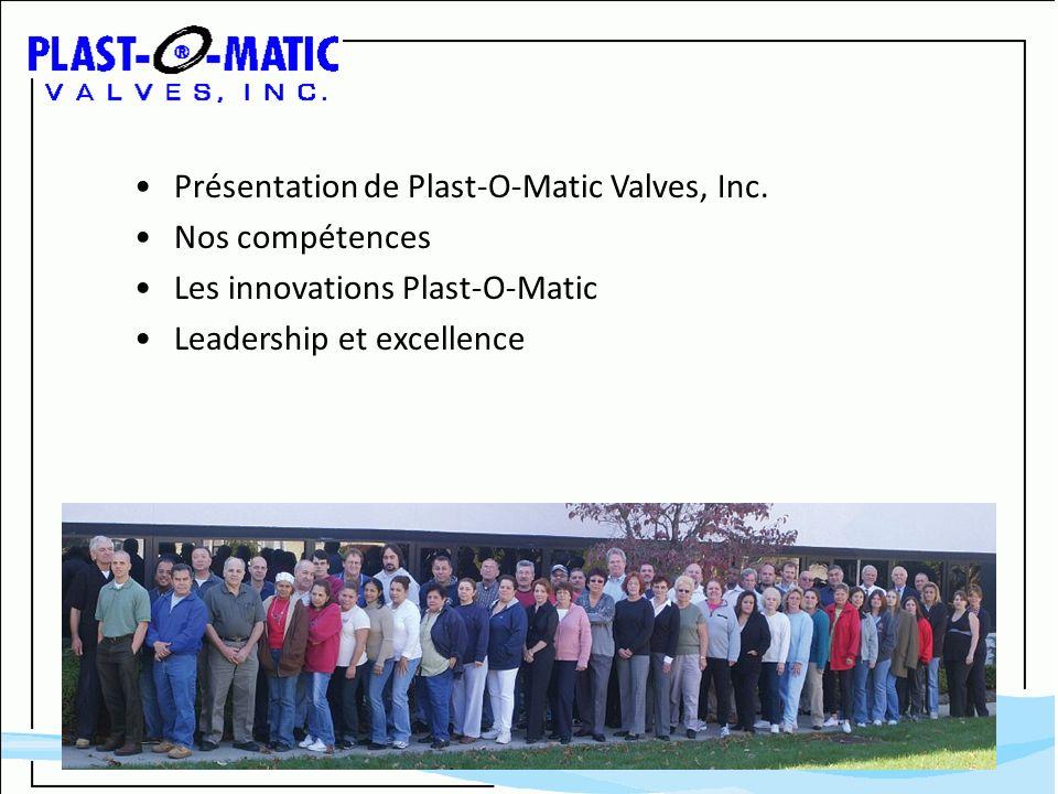 Présentation de Plast-O-Matic Valves, Inc. Nos compétences Les innovations Plast-O-Matic Leadership et excellence