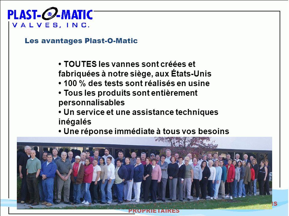 STRICTEMENT CONFIDENTIEL - INFORMATIONS PROPRIÉTAIRES Les avantages Plast-O-Matic TOUTES les vannes sont créées et fabriquées à notre siège, aux États