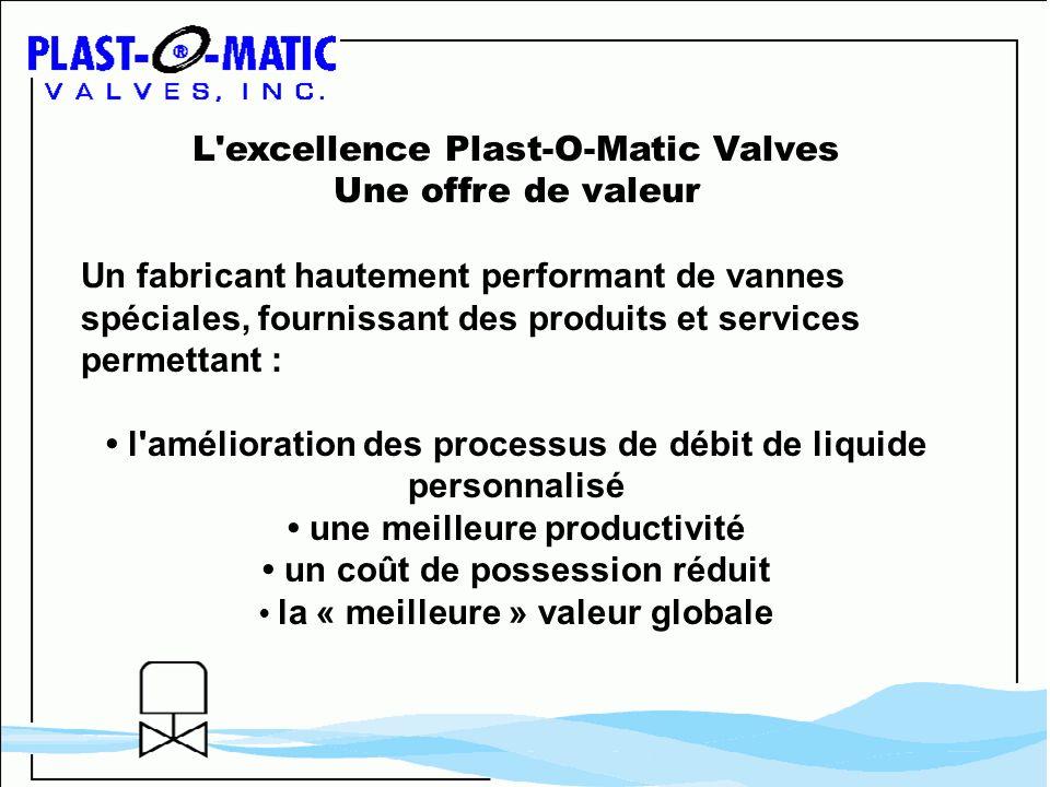 L'excellence Plast-O-Matic Valves Une offre de valeur Un fabricant hautement performant de vannes spéciales, fournissant des produits et services perm