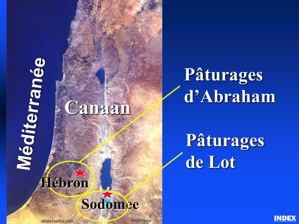 Abraham au pays de Canaan INDEXMéditerranée Canaan Sodomee Pâturages dAbraham Pâturages de Lot Hébron
