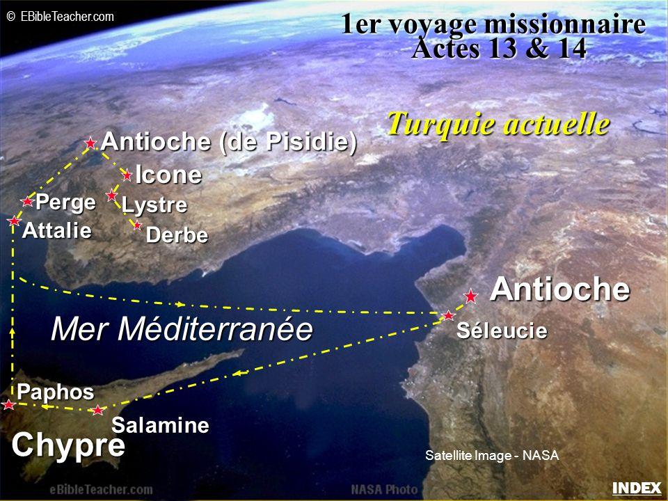 Icone Antioche (de Pisidie) Antioche Lystre Derbe Mer Méditerranée Chypre Séleucie Salamine Paphos Attalie Perge 1er voyage missionnaire Actes 13 & 14