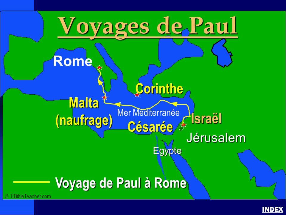 Paul - voyage à Rome Pauls Voyage to Rome INDEX Voyage de Paul à Rome Jérusalem Egypte Voyages de Paul Rome Corinthe Israël Césarée Malta(naufrage) ©